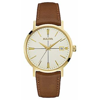 Bulova Mens Aerojet Brown Leather Strap Cream Dial 97B151 Watch