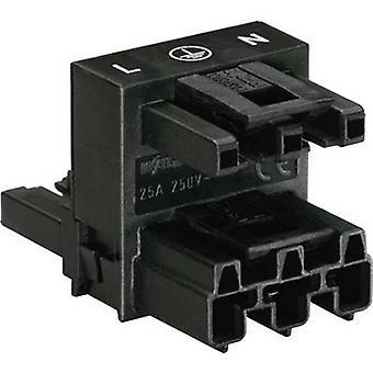 WAGO Netz H Verteiler Netzstecker, Netzsteckdose - Netzsteckdose Gesamtanzahl der Pins: 2 + PE Schwarz 1 Stk.