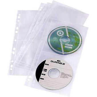 Durable 4x CD/DVD punched pocket 4 CDs/DVDs/Blu-rays Polypropylene Transparent 5 pc(s) 528219