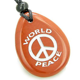 Amulet Lucky World Peace Red Jasper Wish Stone Pendant Necklace