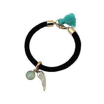 Gemshine armbånd forgyldt ædelsten Aqua engel vinger grøn sort
