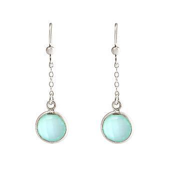 GEMSHINE Women's Earrings in 925 Silver Yoga Earrings Chalcedon Case