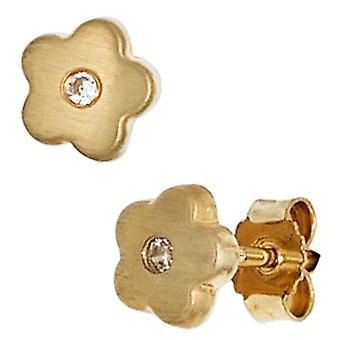 Bambini Orecchini fiore 333 oro giallo Gold 2 zirconi ragazza orecchini, gioielli per bambini