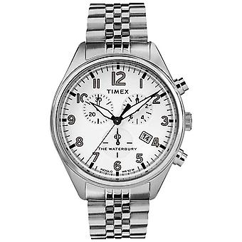TW2R88500 montre Timex Mens Waterbury traditionnel blanc Chrono acier Bracelet
