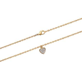 Yellow Gold Plated Heart And Zirconium 7799 Cheville Chain
