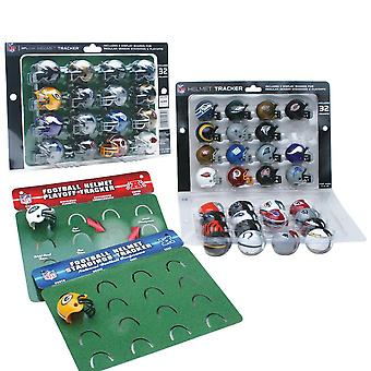 NFL standings & playoff Tracker with 32 NFL mini helmets