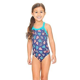 Zoggs Pears Ruffle X back Swimsuit Navy/Multi
