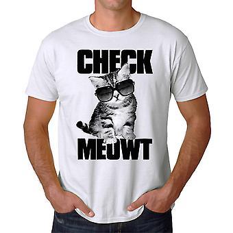 Comprobación divertida Meowt gato gafas de sol gráfico camiseta de los hombres blanco