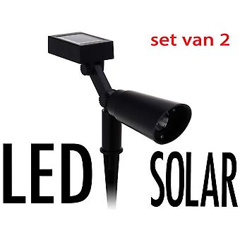 Solar LED spot  2 stuks