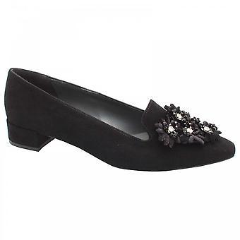 بيتر كايزر أسود جلد الغزال جلدية مسطحة الأزهار حذاء بدون كعب