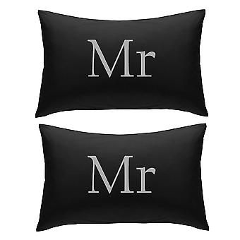 Black with Silver Mr and Mr Pillowcases