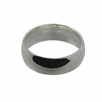 9ct White Gold 8mm plain Court shaped Wedding Ring Size Z
