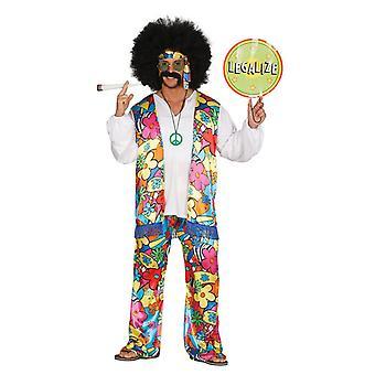 Mens 1970-talet Rainbow Hippy Fancy Dress kostym