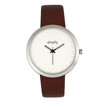 Vereenvoudig de 6000 riem horloge-zilver/bruin