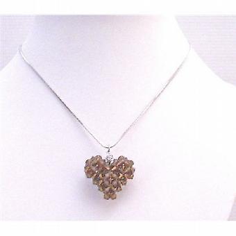 Brązowy 3D serca Puffy wędzone Topaz kryształy Swarovski wisiorek naszyjnik