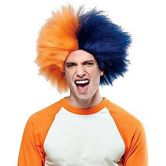 スポーツ楽しいネイビー ブルー オレンジのウィッグ