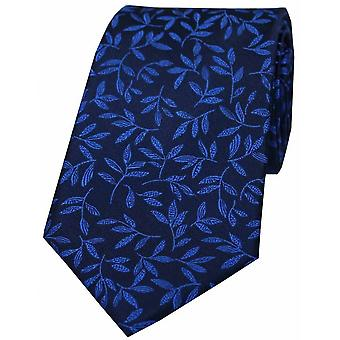David Van Hagen feuille motif cravate de soie - bleu Royal
