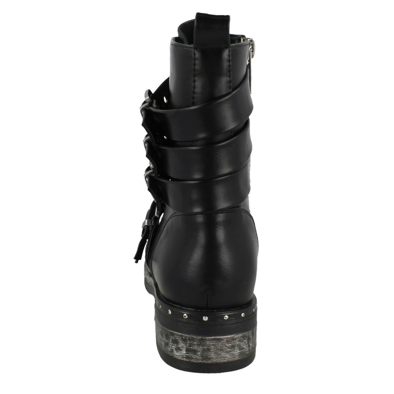 Ladies Spot On Biker Boots With Buckle Detail