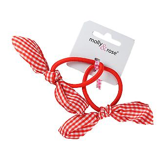 Molly & Rose Girls Elastic Hair Band With Gingham Bow 2pk Red