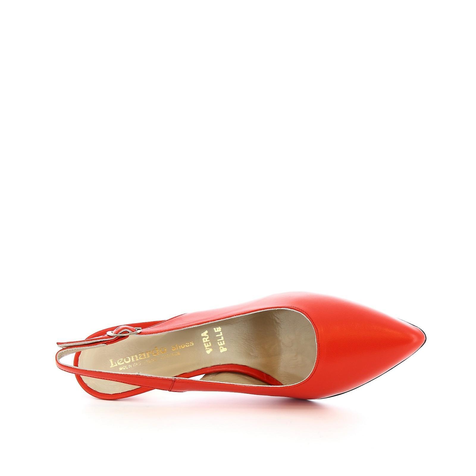 Leonardo Shoes Women's Handmade Stiletto Slingback In Red Calf Leather