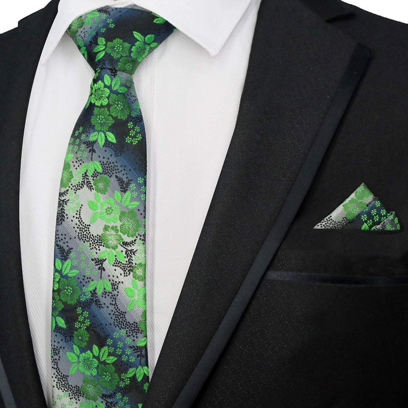 Green & grey floral pattern necktie & pocket square set