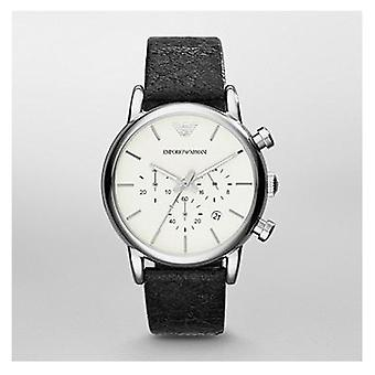 Emporio Armani Classic Chronograph Black Leather Mens Watch Ar1810