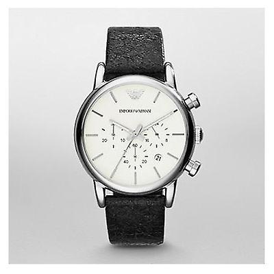Emporio Armani Classic Chronograph Black Leather Mens Watch Ar1810