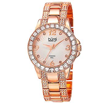 Burgi Women's Rose-Tone Crystal Bracelet Watch with Diamond Accents BUR137RG