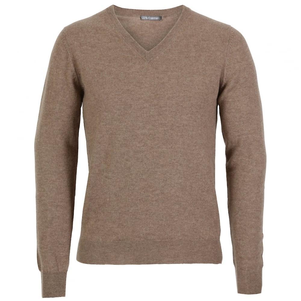 Cashmere V- Neck Sweater, Natural