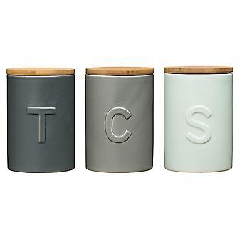 Gris, bleu et boîtes à premier Housewares Fenwick thé café sucre