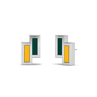 Oakland Athletics Sterling Silver Asymmetric Enamel Stud Earrings In Green & Yellow