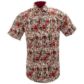 كلاوديو Lugli ميدو الزهور والفراشات طباعة قصيرة الأكمام قميص الرجال