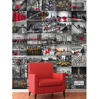 Creative Collage City Scapes Designer Wall Mural - 64 Piece
