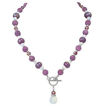 Eternal Collection Harmony Orchid Jade And Crystal Ceramic Beaded Necklace
