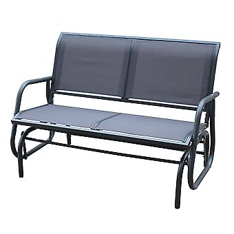 Charles Bentley Steel 2 Seater Rocking Bench-Grey