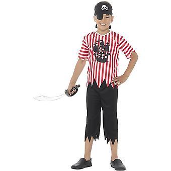 Jolly Pirate Boy Kostüm, rot & weiß, mit Top, Hose, Bandana & Augenklappe