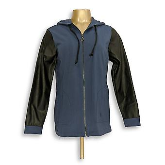 Linea por Louis Dell ' Olio mulheres ' s hoodie w/faux Blue A267865