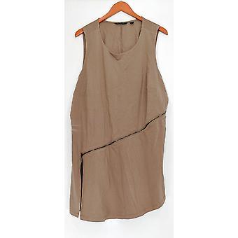 H par Halston Women-apos;s Plus Top Sleeveless Knit w/ Zipper Brown A278349