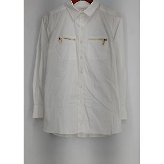 Belle by Kim Graver Top Girlfriend Shirt w/ Zippered Pockets White A296109