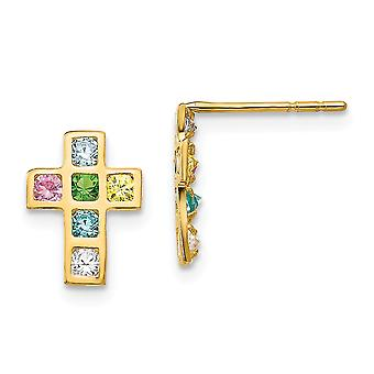 14k Yellow Gold Polished Multi colored CZ Cubic Zirconia Simulated Diamond Religious Faith Cross Post Earrings Jewelry G