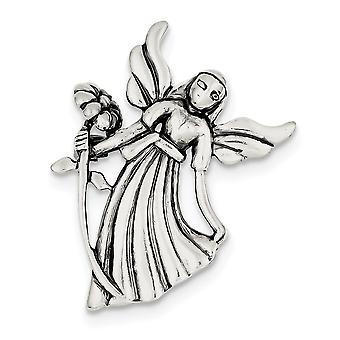 925 Sterling Sølv Polert Finish Sateng Finish D Cut Bøying Religiøs Guardian Angel Blomst Pin Smykker Gaver til Wom