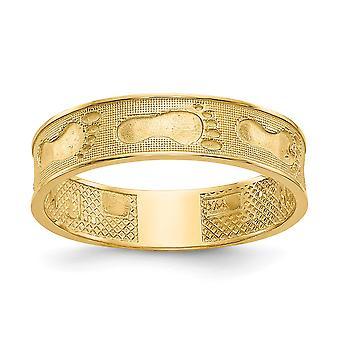 14k Gul Guld Solid Poleret Fodspor i sandring Størrelse 6 smykker Gaver til kvinder