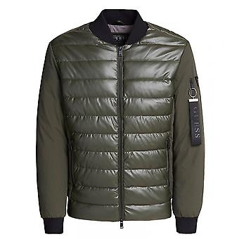 GUESS Khaki Mixed Quilted Bomber Jacket