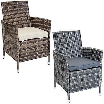 Charles Bentley Pair of Rattan Dining Chairs Garden Furniture - Indoor / Outdoor Use in Natural / Grey