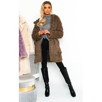 IKRUSH Womens Jojo Fluffy Hooded Coat
