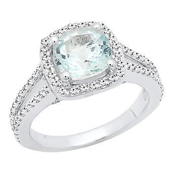 Dazzlingrock Collection 14K Cushion Cut 7.4 MM Aquamarine & Round Diamond Ladies Halo Engagement Ring, White Gold