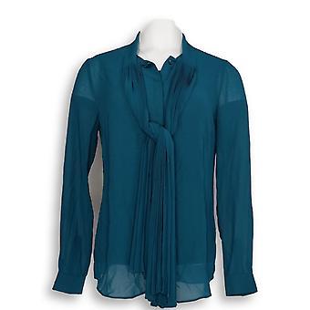 Dennis Basso Women's Top Pleated Tie Blouse & Tank Set Blue A297338