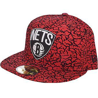 New Era NBA Basketball Brooklyn Nets Flock Crown 59Fifty Fitted Baseball Cap Red