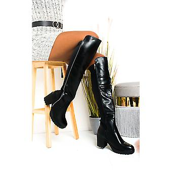 IKRUSH mujeres Kady falso cuero rodilla botas altas