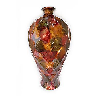"""9.5"""" X 9.5"""" X 20"""" Brown Ceramic Floor Vase"""